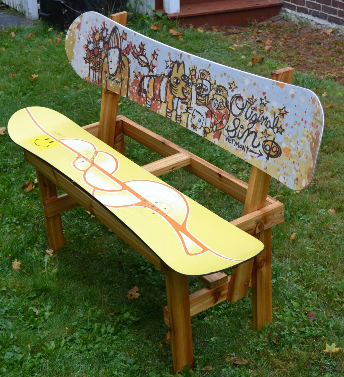 Snowboard Bank Recycled Snowboard Bench