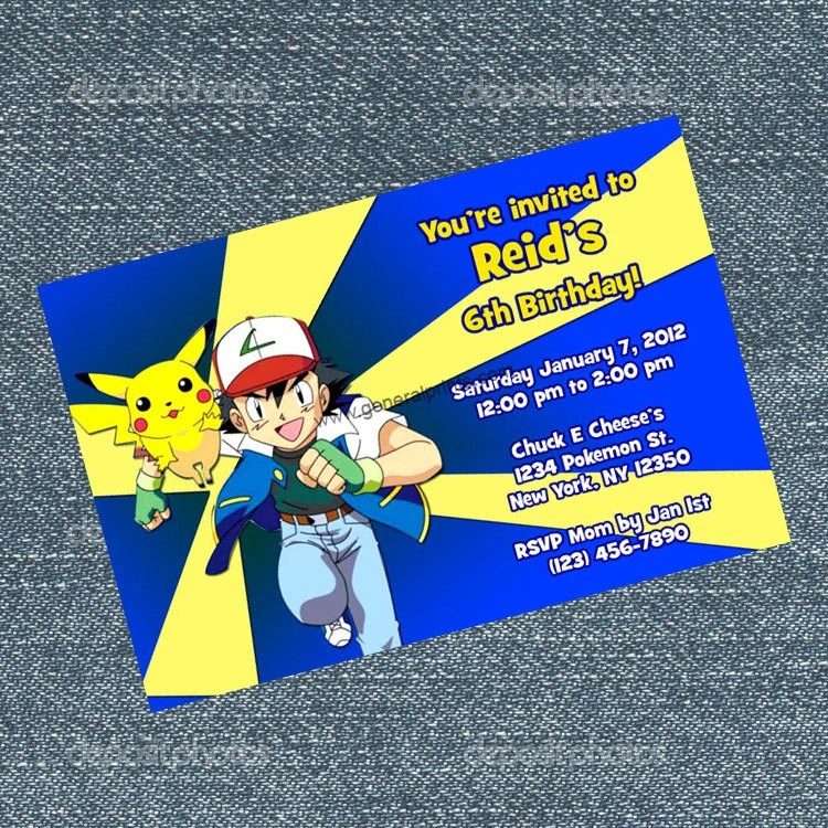 Pokemon Birthday Party Invitations Birthday Wikii