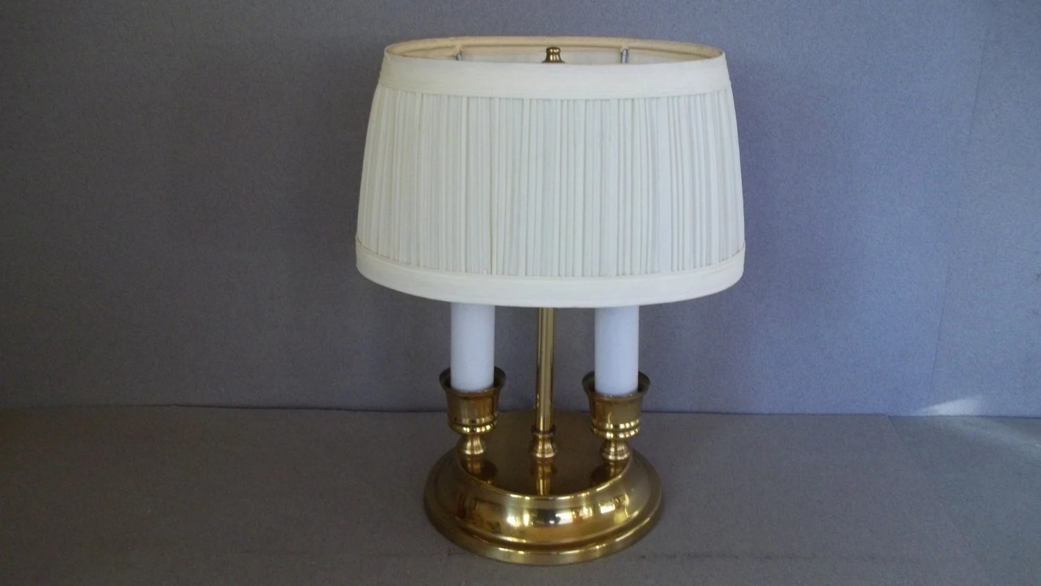 Vintage Small Brass Lamp Double Candlestick Lamp by