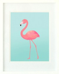 Flamingo Print / Turquoise and Pink Flamingo Wall Art