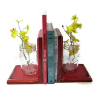 Mason Jar Bookends CHOOSE YOUR COLOR Rustic Wood Shabby