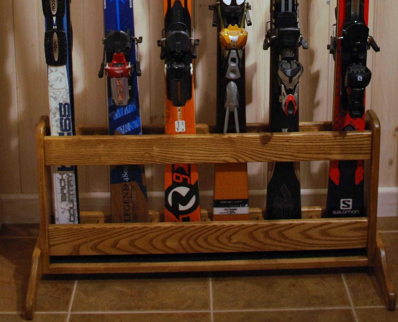 Freestanding Wooden Ski Rack