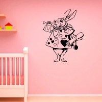 Rabbit Alice In Wonderland Wall Decal Vinyl by FabWallDecals