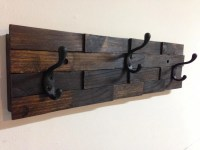 Rustic wood coat rack wall mount with 3 coat hooks entryway