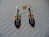 brick stitch beaded feather earrings