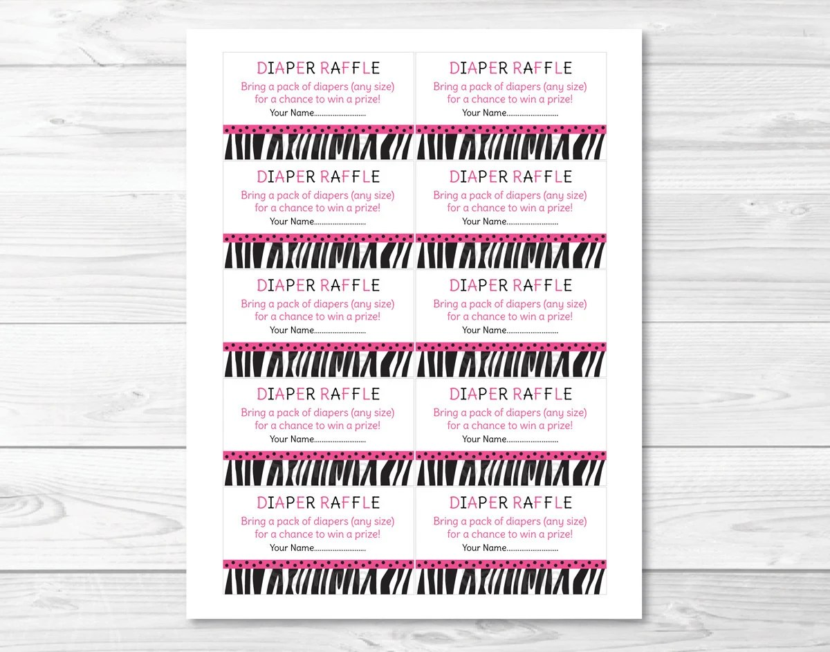 Pink Sassy Zebra Print Printable Baby Shower Diaper Raffle Tickets - raffle ticket print out