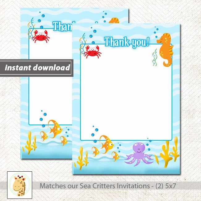 Sea Critters Under the Sea Matching Flat Card Thank you Note, Size