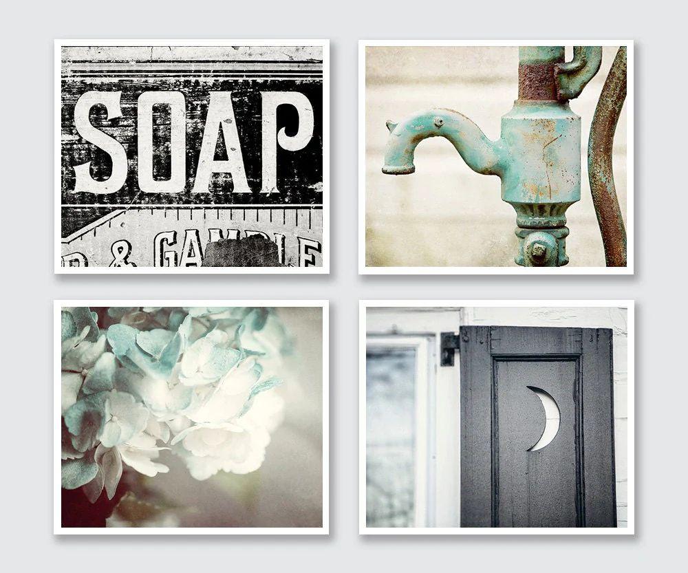 Rustic bathroom decor set of 4 prints or canvas art bathroom art bathroom print