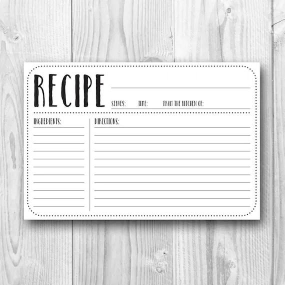 Printable Recipe Card 4x6 Recipe Card Plain Kitchen - recipe card