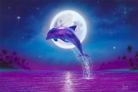 Live 3d Dolphin Wallpaper Dolphin Art Print Dolphins Art Dolphin Wall Decor Art Print