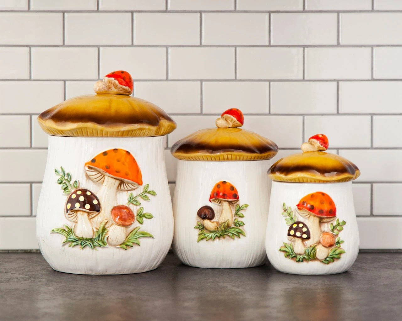 Ceramic Cookie Jar Sets Mushroom Canister Set Ceramic Cookie Jar 1970s Retro Kitchen