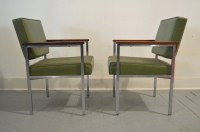 Set of Two Vintage Mid Century Office Chairs in Green by All