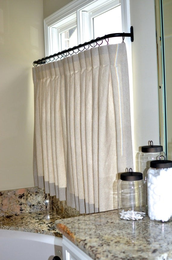 Pinch pleat cafe curtains for bathroom made to order