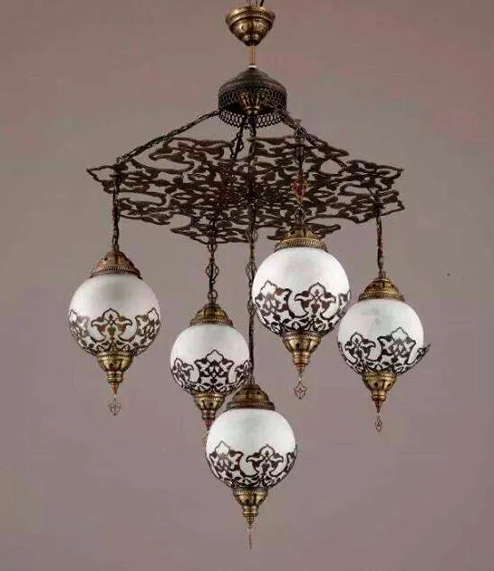 5 Ball Ottoman Turkish Lamps Chandelier Hanging By