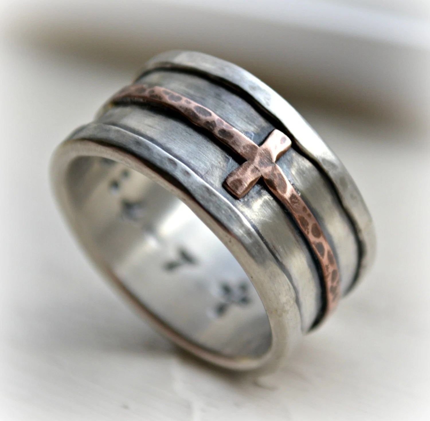 mens cross wedding band rustic hammered engraved wedding bands zoom