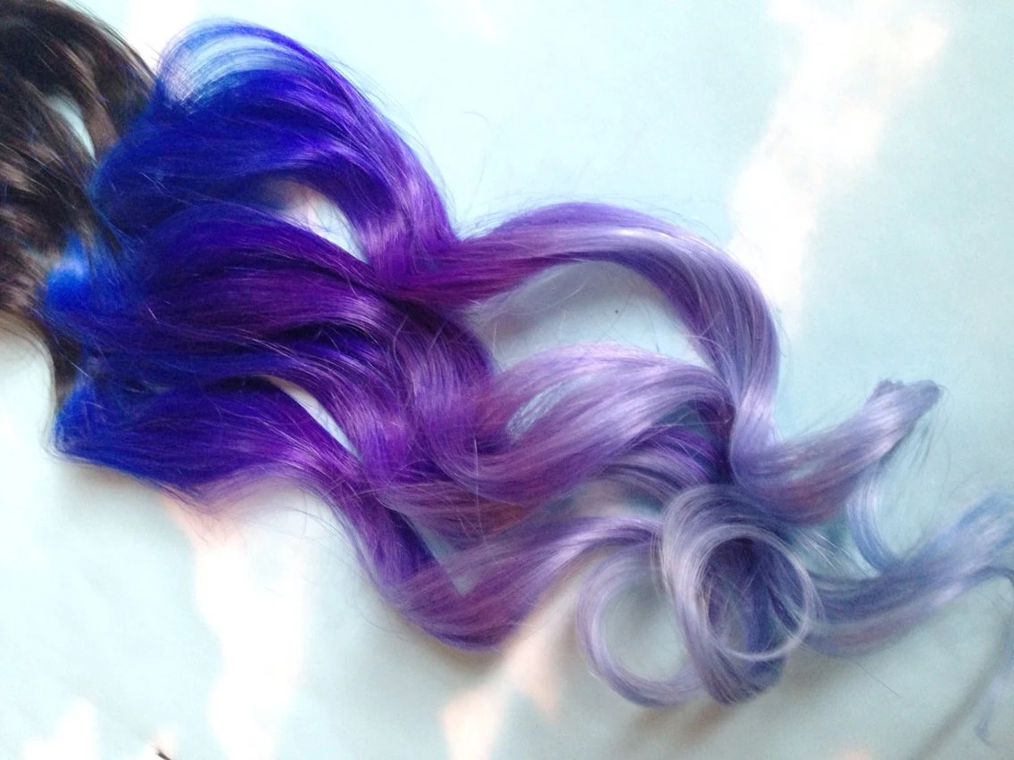Lila Blaue Haare Purple And Blue Hair Clip Extensions Blue Ombre Hair Purple