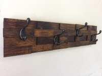 Rustic wood coat rack entryway storage wall by ...