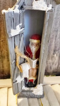 Vintage Santa in Outhouse With Naughty or Nice List Christmas