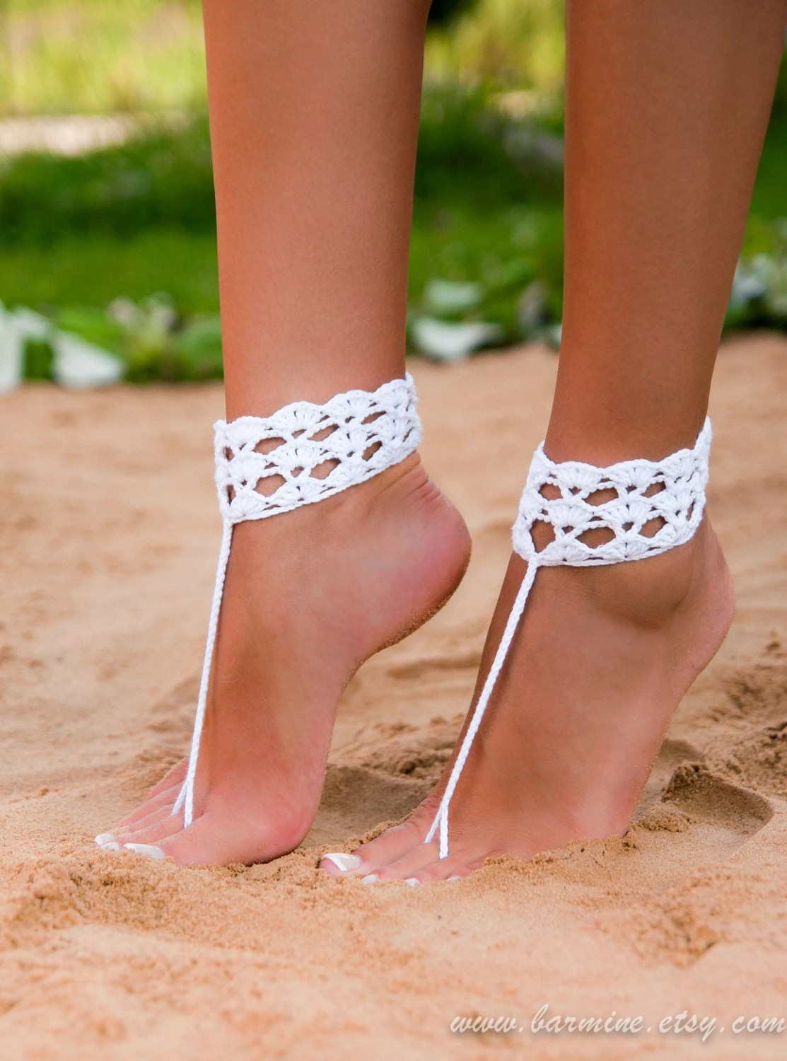 crochet barefoot sandals barefoot wedding sandals for bride Beach wedding shoes Bridal zoom