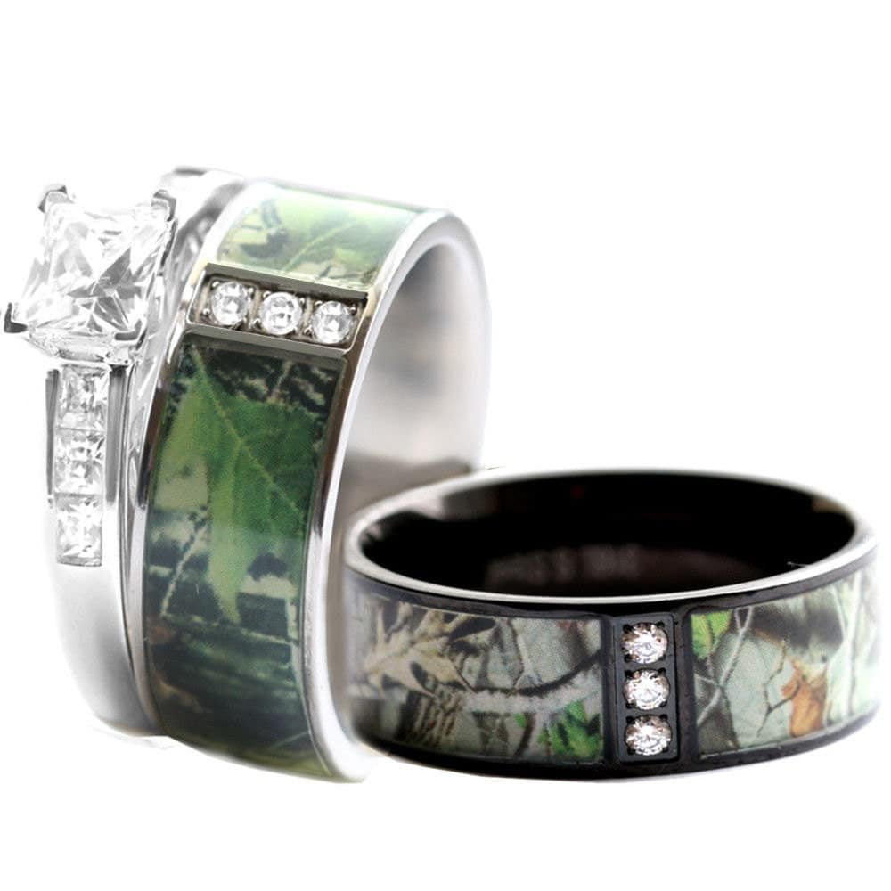 camouflage ring camo wedding bands Camo Wedding Ring Set for Him and Her Stainless Steel Silver Black IP Rhodium Plating