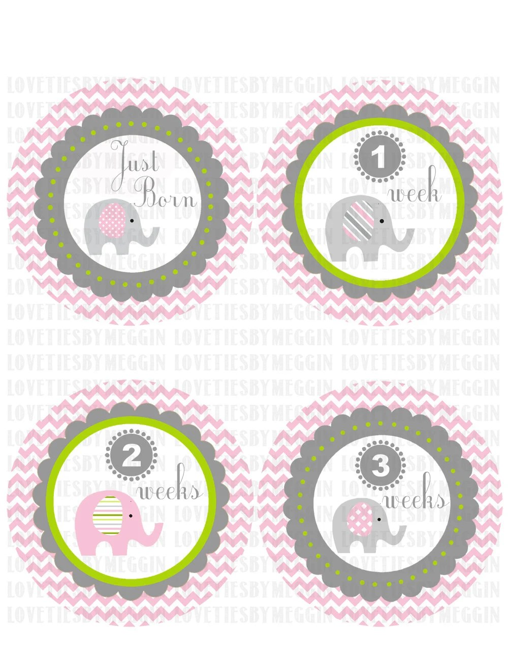 Baby Girl First Year Sticker Calendar Cute Games For Girls Girl Games Monthly Onesie Baby Stickers Yellow Elephant By
