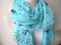 Women scarf Cat scarf-mint green brown lightweight cotton