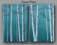 Large wall art Birch tree painting Canvas print set 4 piece