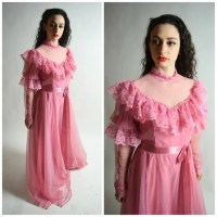 70s Rose Pink Bridesmaid Prom Dress // Victorian Edwardian
