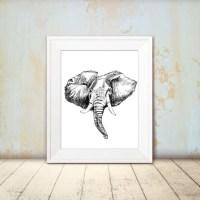 Elephant wall art - Black and white elephant printable ...