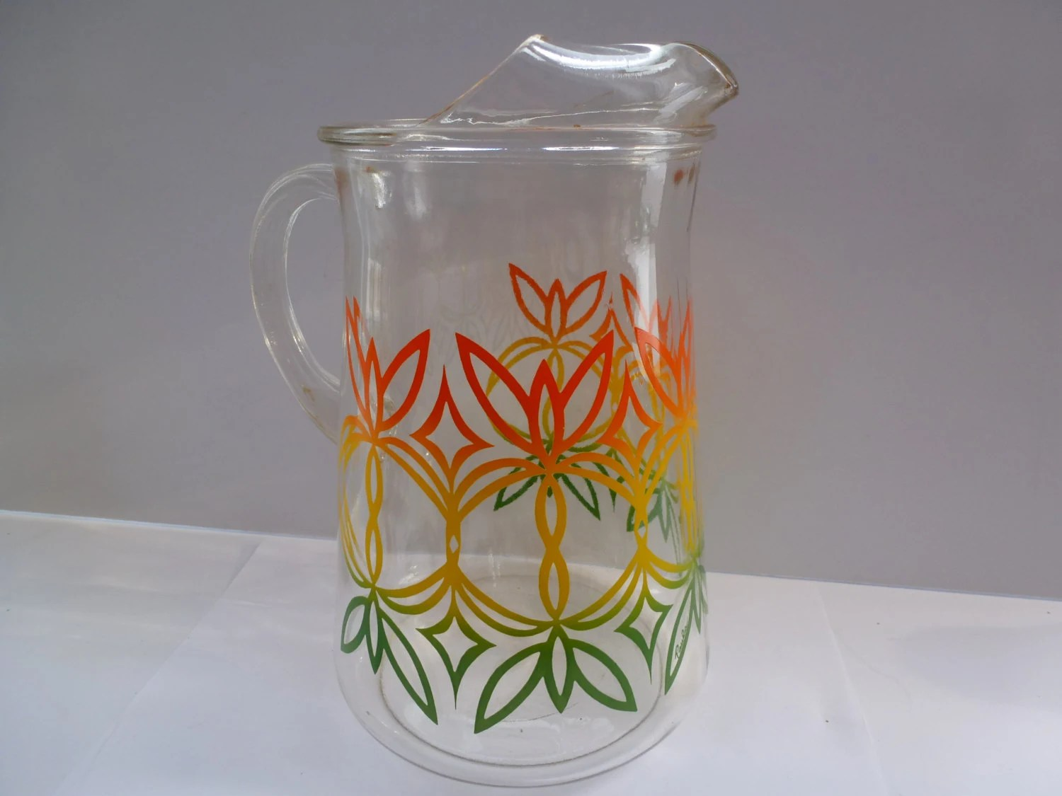 Large Glass Pitcher With Spout Retro Water Pitcher Large Retro Glass Water Pitcher With