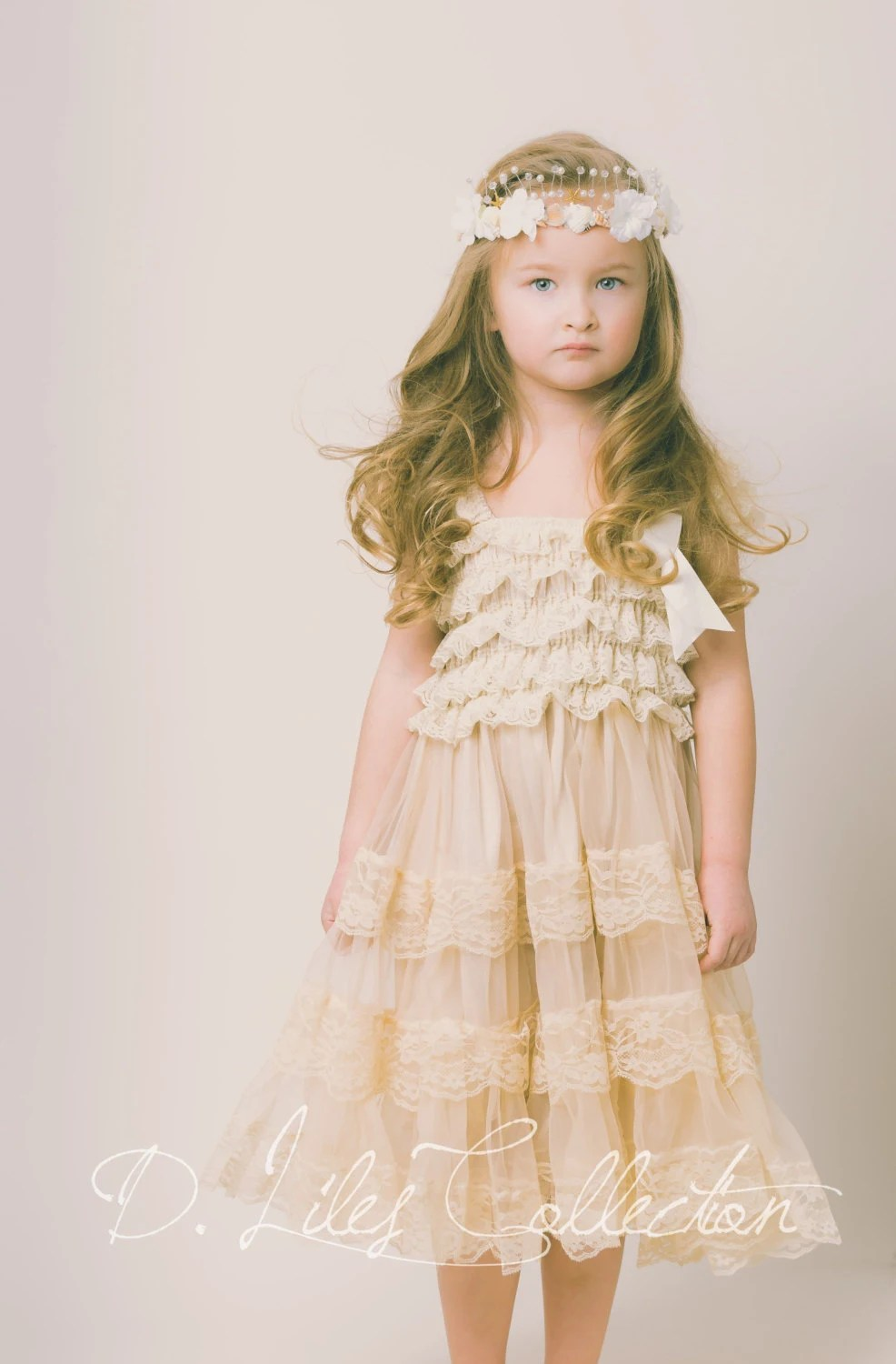 eloise lace rustic flower girl dress rustic wedding dresses zoom