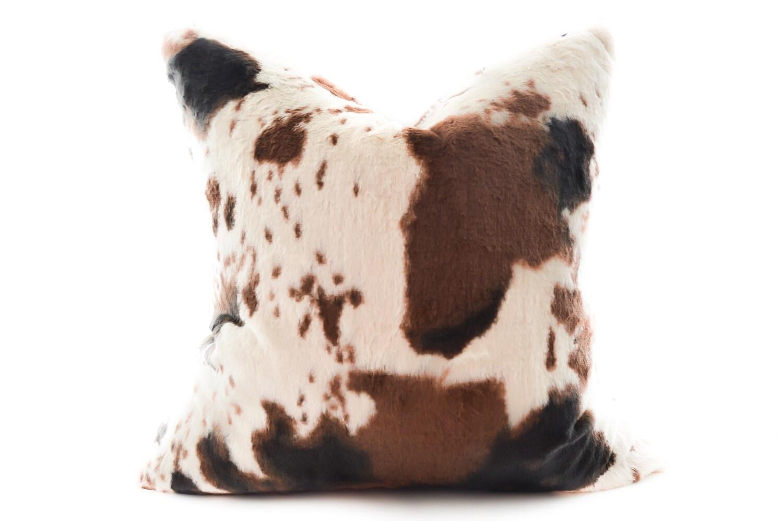 Pony Faux Fur Pillow Cover Brown Black Cream Plush Toss