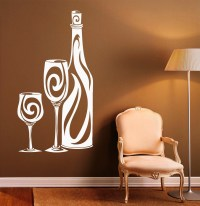 Wine Bottle Wall Vinyl Decal Cafe Stickers Glass Art Interior