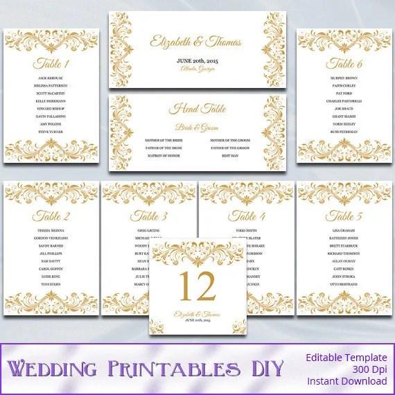 Gold Wedding Seating Chart Template Diy Elegant Reception