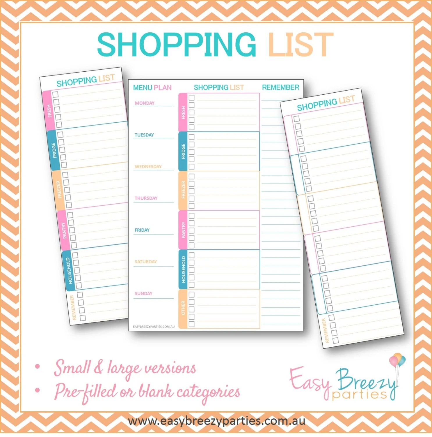Grocery Supermarket Shopping List Printable - Mutliple versions - printable shopping list with categories
