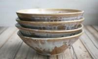 Set of Four Rustic Ceramic Pasta Bowls Handmade Stoneware