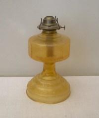 Vintage Amber Glass Eagle Oil Lamp Base