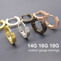 Gauge Hoop Earrings Men's Gold Huggie Custom Men's