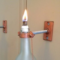 4 Wine Bottle Oil Lamps frosted INDOOR by GreatBottlesofFire