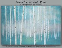 Birch tree art print Teal and gray wall art by ArtFromDenise