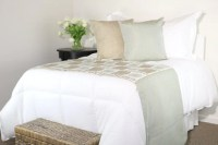Modern Light Blue & Tan Ikat Bed Runner and Throw by ...