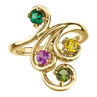 4 stones Mother's Ring 14k Gold White / Yellow Or Rose