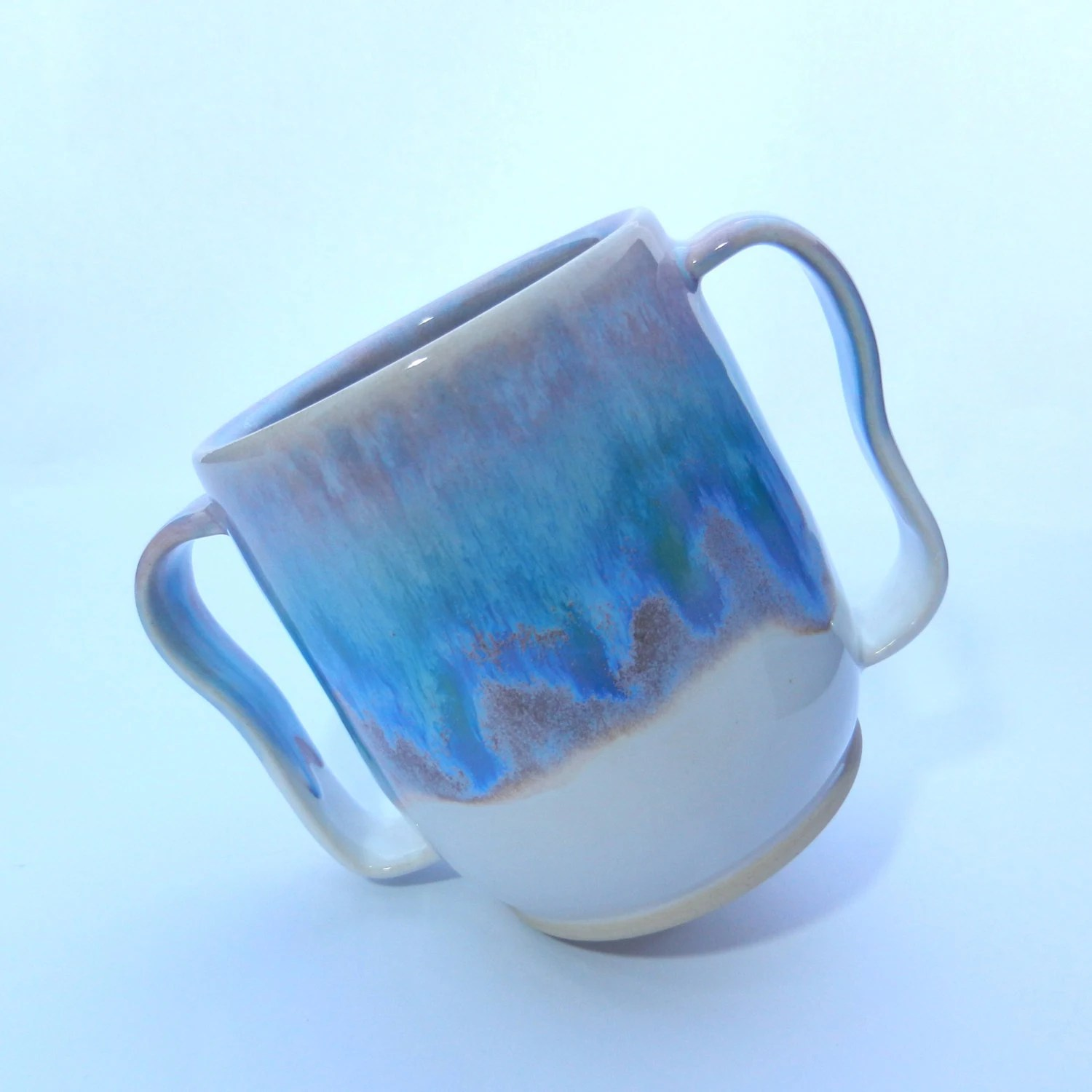 Double Handled Coffee Mugs Art Coffee Mug Two Handled Blue White Beer Pint Mug By Zozpots