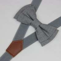 Bow tie suspenderslight Gray boys bow tieswedding grey