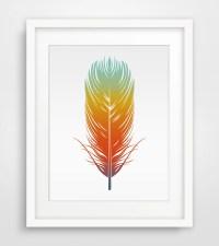 Colorful Feather Printable art Wall art Printable Wall Art