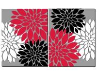 Red Gray Black White Wall Art Prints or Canvas Bathroom Decor