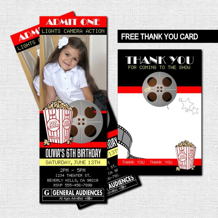 MOVIE TICKET INVITATIONS Theater Birthday Party Bonus Thank - create your own movie ticket