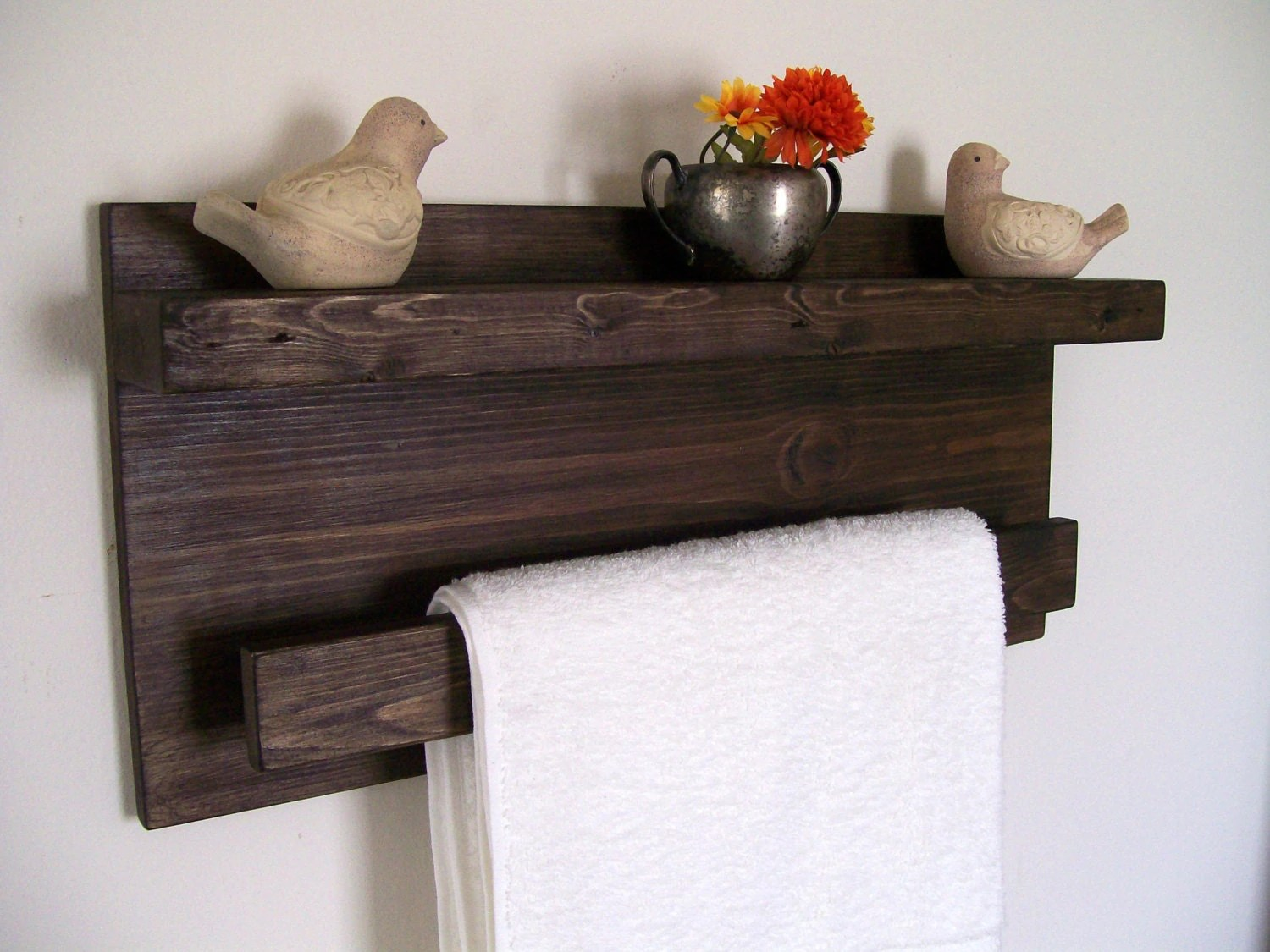 Holz Handtuchhalter Bathroom Shelves Wood Shelf Towel Rack Towel Bar Floating