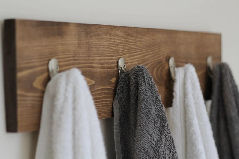 Rustic Wooden Towel Rack Towel Rack Towel Hooks Rustic