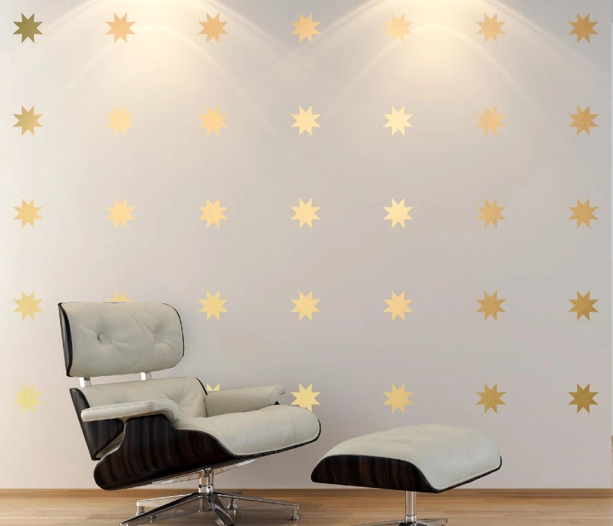 Create Own 3d Name Wallpaper Gold Star Decal Set 8 Point Star Wall Decals Baby Nursery Wall
